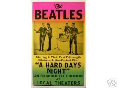 BEATLES CONCERT POSTER A HARD DAYS NIGHT