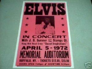 ELVIS 1972 CONCERT POSTER PRINT ADV AD PICTURE E