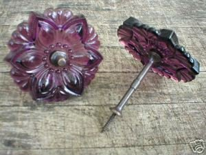 DARK AMETHYST CURTAIN TIEBACKS ONE PAIR GLASS