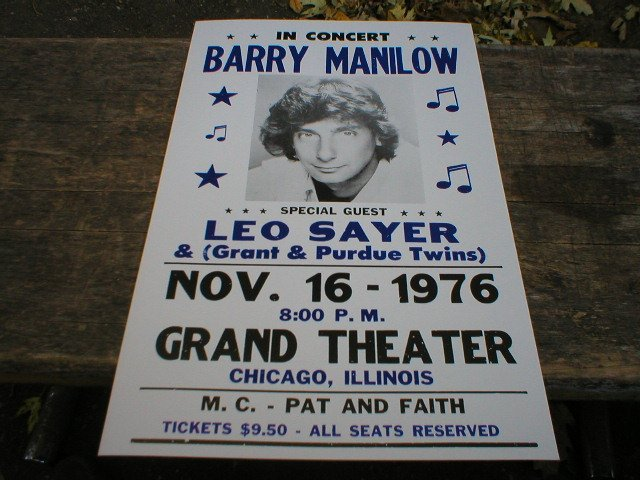 BARRY MANILOW CONCERT POSTER SIGN ADV AD PICTURE M