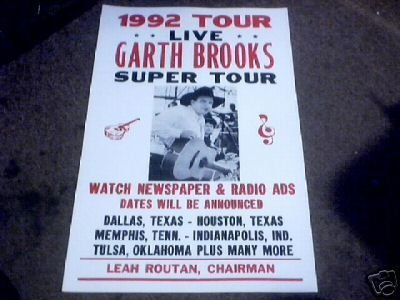 GARTH BROOKS  CONCERT POSTER