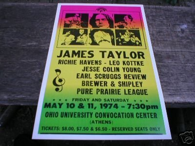 JAMES TAYLOR 1974 RETRO CONCERT POSTER SIGN PRINT T