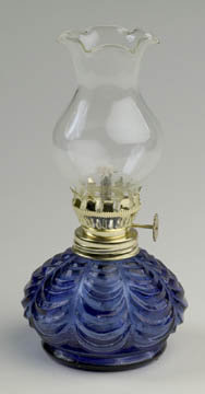 SMALL COBALT OIL KEROSENE LAMP R