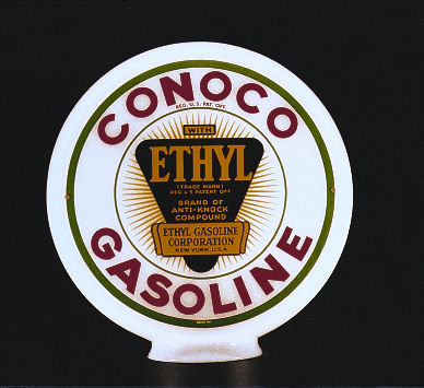 CONOCO ETHYL GASOLINE GAS PUMP GLOBE SIGN P