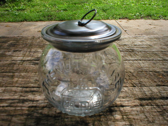 THE NUTHOUSE GLASS PEANUT JAR UNIQUE DECOR
