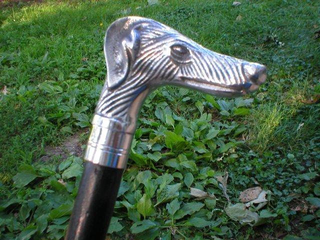 DOG HANDLE WOOD CANE WALKING STICK CAST ALUMINUM
