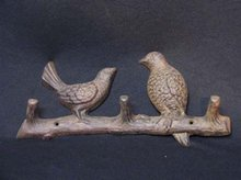 CAST IRON BIRD COAT RACK HOME PATIO DECOR S