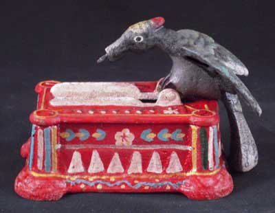 BIRD TOOTHPICK HOLDER CAST IRON