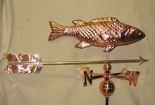 FISH WEATHERVANE POLISHED COPPER BRASS HOME DECK DECOR F
