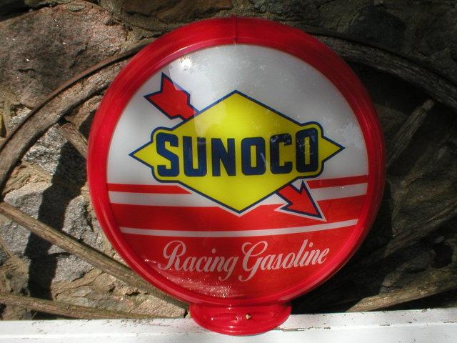 SUNOCO RACING GASOLINE GAS PUMP GLOBE SIGN 13.5