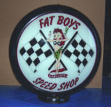 FAT BOYS GASOLINE GAS PUMP GLOBE SIGN 13.5