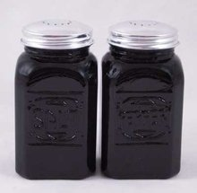 EBONY BLACK SQUARE SALT & PEPPER SHAKERS ONE SET