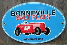 BONNEVILLE SALT FLATS PORCELAIN COAT SIGN