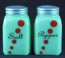 RED DOTS ARCH SALT PEPPER SHAKERS JADE JADITE JADEITE