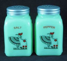 GIRL WATERING ARCH SALT PEPPER SHAKERS JADE JADITE JADEITE