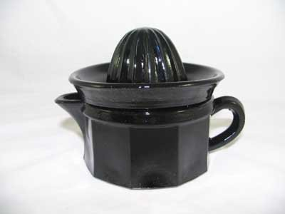 EBONY BLACK GLASS JUICER REAMER SMALL 2 PIECE
