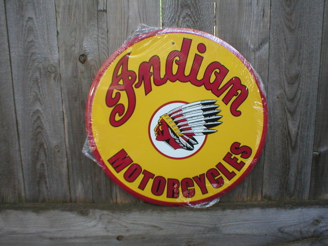 INDIAN MOTORCYCLES ROUND TIN SIGN