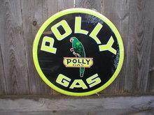 POLLY  GAS ROUND TIN SIGN