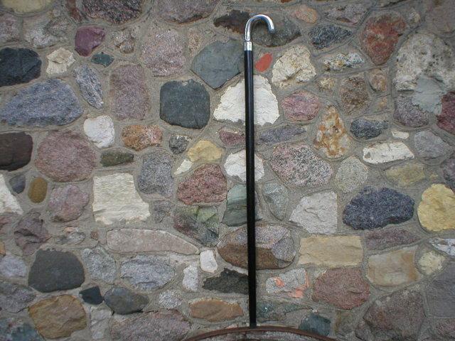 SILVER HANDLE WOOD CANE WALKING STICK CAST ALUMINUM