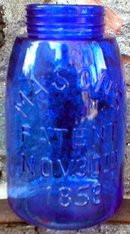 COBALT FRUIT JAR DEPRESSION STYLE GLASSWARE
