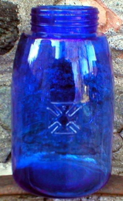 COBALT FRUIT JAR DEPRESSION STYLE GLASSWARE