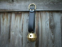 BRASS NUMBER 12 SLEIGH BELL LEATHER STRAP DOOR BELL