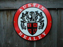 AUSTIN HEALEY PORCELAIN COATED SIGN