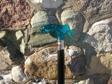CANE WALKING STICK  BLUE GLASS HANDLE VICTORIAN STYLE