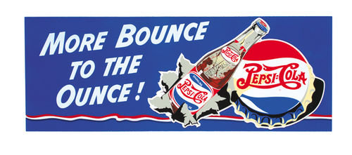 PEPSI MORE BOUNCE TO OUNCE WOOD SIGN