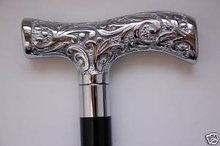 VICTORIAN CANE nickel walking stick Silver