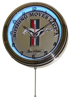 FORD MUSTANG BLUE NEON WALL CLOCK 15.5