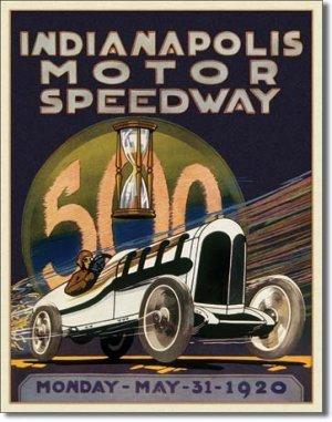 INDIANAPOLIS MOTOR SPEEDWAY 1920 TIN METAL SIGN