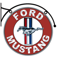 FORD MUSTANG DOUBLE SIDED HANGING METAL SIGN