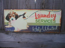 LAUNDRY SERVICES TIN SIGN HELP WANTED