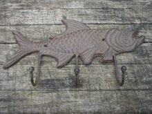 FISH 3 HOOK COATRACK WALL HANGER CAST IRON