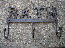3 HOOK BATH COATRACK CAST IRON