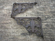 FLEUR-DE-LIS CAST IRON SHELF BRACKETS ONE SET