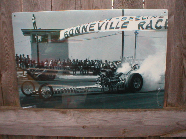 BONNEVILLE PRUDHOMME BURNOUT HEAVY STEEL SIGN