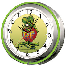 RAT FINK DOUBLE NEON WALL CLOCK GREEN 18.75