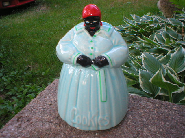 AUNT JEMIMA MAMMY McCOY COOKIE JAR LIGHT BLUE