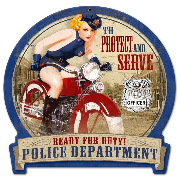 POLICE DEPARTMENT HEAVY METAL SIGN