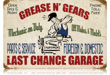 GREASE GEARS GARAGE HEAVY METAL SIGN