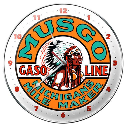 MUSGO GASOLINE ROUND METAL CLOCK