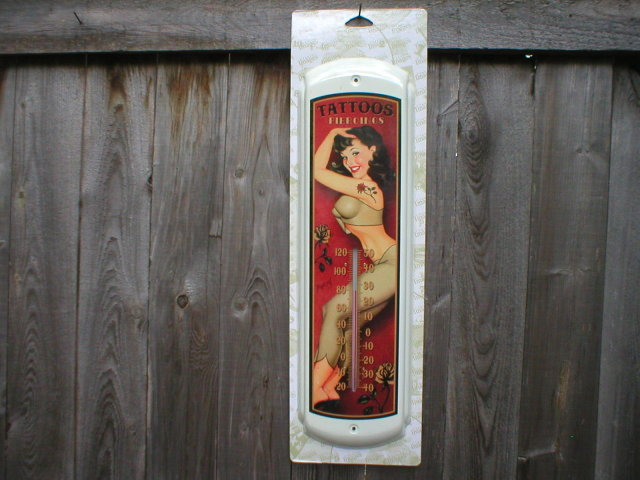 TATTOOS PINUP GIRL THERMOMETER SIGN