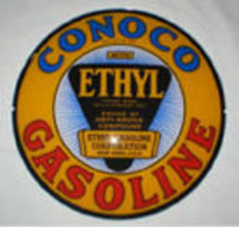 CONOCO MINUTEMAN ETHYL LENS GAS PUMP GLOBE SIGN