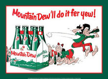 MOUNTAIN DEW SIX PACK FAMILY METAL SIGN
