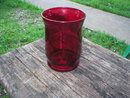 RUBY RED GLASS JAR VASE