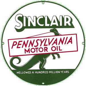 SINCLAIR PENNSYLVANIA MOTOR OIL PORCELAIN COATED SIGN