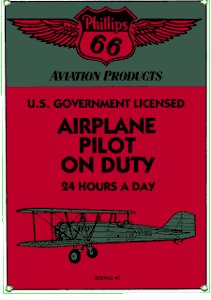 PHILLIPS 66 AIRPLANE PILOT ON DUTY PORCELAIN COATED SIGN