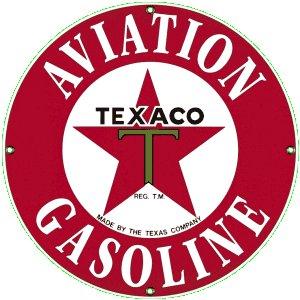 TEXACO AVIATION GASOLINE PORCELAIN COATED SIGN